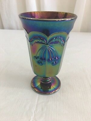 CARNIVAL GLASS Amethyst Purple Goblet Cherry & Cable Mosser Glass 8oz.