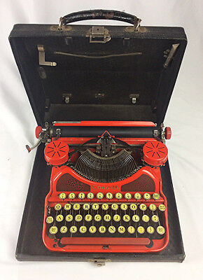 Antique vintage L.C. Smith Corona red typewriter case glass keys fine condition