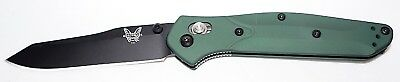 "Benchmade Osborne Folding Knife 3.4"" S30V Black Plain Blade, Green Aluminum Hand"