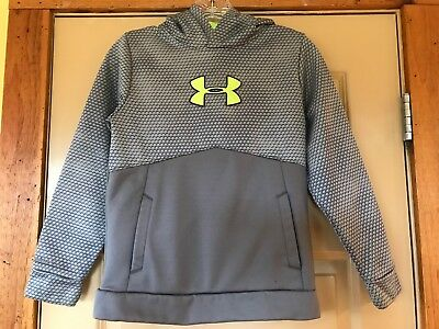 Boys Under Armour Storm Gray Yellow Hoodie Pullover Jacket Size M