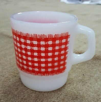 Vintage Fire King Anchor Hocking Red Gingham Plaid Milk Glass Coffee Tea Mug Cup