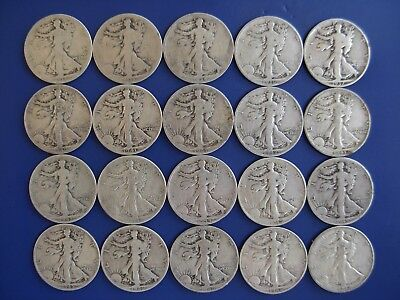 Very nice lot of 20 different Walking Liberty halves: 1917-1947-D. #2
