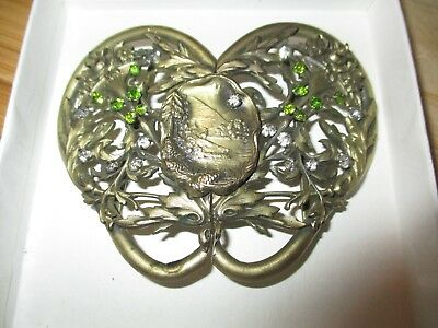 Vintage Fancy Womans Brass 2 Pc  Rhinestone Belt Buckle Deer Trees Ornate