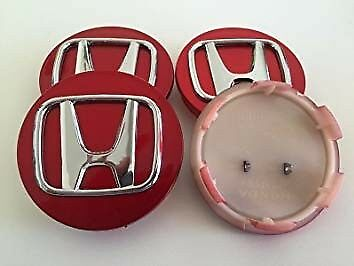 Set Of 4 Honda Chrome Red Alloy Wheel Centre Caps 69Mm Accord Civic Type R New