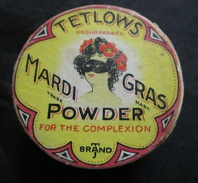 Vtg 1930s Advertising Tetlows Mardi Gras Face Powder Box Masquerade Mask Woman