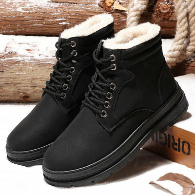 Mens Martin Boots Snow Booties Round Toe Cotton Shoes Leisure Lace Up Flats Warm