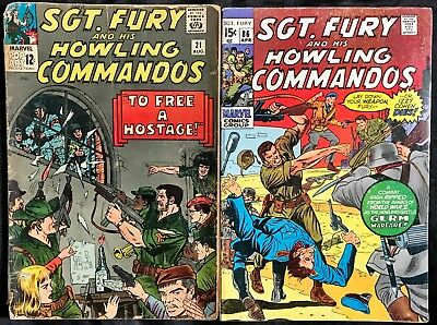 Lot Of 2 Sgt. Fury And His Howling Commandos (Marvel,1965-1971) #21 & 86 Silver~