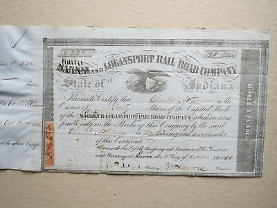 Marion (Union) and Logansport Rail Road Co. Indiana 40 shares 1866 OU