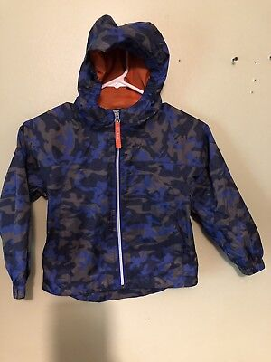 LL Bean Kids Camo Hooded Rain Coat / Jacket Size 4
