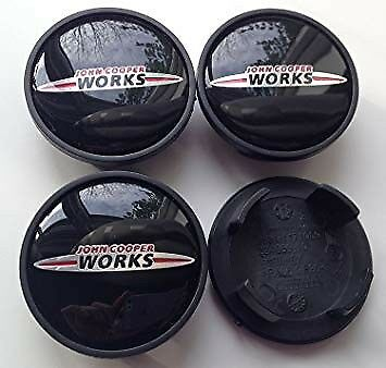 Set Of 4 Black Mini John Cooper Works Alloy Wheel Centre Caps 54Mm Cooper,s, One