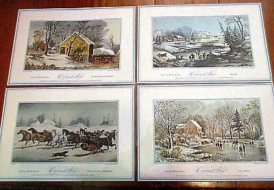 2 sets of 4 Currier and Ives placemat American Winter Scenes