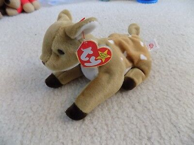 """Ty Beanie Babies """"Whisper"""" baby spotted fawn 1997 NWT  Retired  Excellent"""