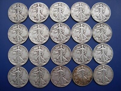 Very nice lot of 20 well matched Walking Liberty halves: 1936-1947-D. #3