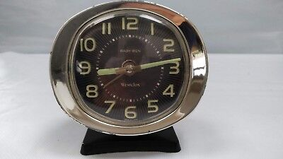 Classic Vintage Baby Ben Wind Up Alarm Clock by Westclox Made in USA Black Dial