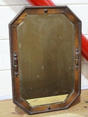 Antique English Carved Oak Octagon Frame Beveled Wall Mirror Jacobean Art - 250