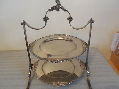 Vintage  Victorian  2 Tier Godinger Silver plated Serving Tray