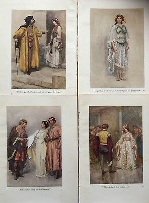 4 ANTIQUE COLOUR ART PRINTS by GERTRUDE DEMAIN HAMMOND: Shakespeare Stories 1910
