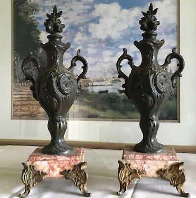 Pair of French Rococo Style Antique Marble & Bronzed Spelter Urns Garnitures