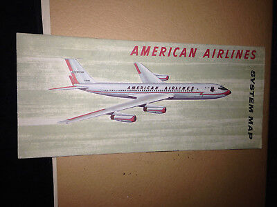 Old Vtg American Airlines Brochure American Airlines System Map Airplane Plane