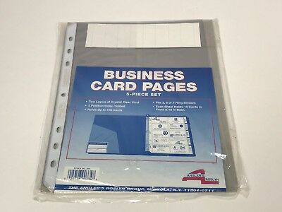 Business Card Binder Tabbed Refill Pages, Clear, 5/Pack (ANG304)
