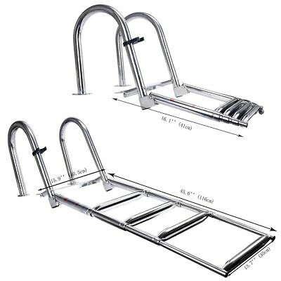 4 Steps Stainless Folding Rear Entry Pontoon Boat Ladder with Extra Wide Step