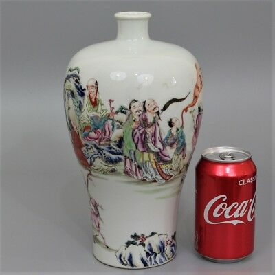 A Fine Quality Antique Chinese Yongzheng Mark Famille Rose  Meiping Figure Vase