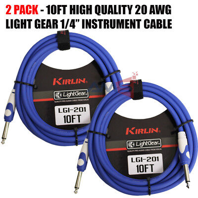 "2 PACK Kirlin 10 ft Guitar Instrument Patch Cable BLUE Free Cable Tie 1/4"" NEW"