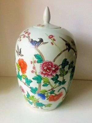 Antique Chinese Porcelain Hand Painted Large Ginger Jar
