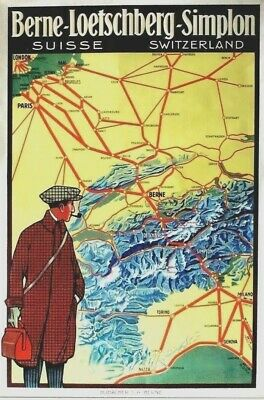 Original vintage poster BLS SWISS TRAIN EUROPE ALPS AIR VIEW 1912