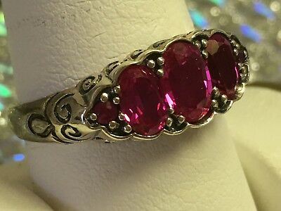 STERLING SILVER~925~OVAL & ROUND~CREATED RUBY~SIZE 9 3/4~Antique Look~3.3 GRAMS