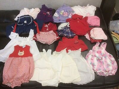 80 Piece Vintage Baby Girls Clothes Various Sizes