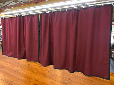 Lot of (2) Burgundy Curtain/Stage Backdrop, Non-FR, 9 H x 15 W