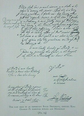 Charles 1st signed state document printed from the original  1926 Chas J Sawyer
