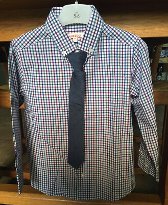 Boys Age 5-6 Blue Zoo check shirt & tie excellent condition