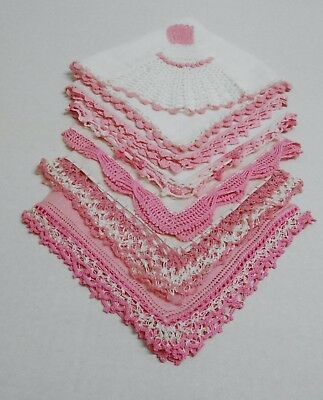 VINTAGE LOT OF BEAUTIFUL HANKERCHIEFS w/ EMBROIDERY & CROCHETED EDGES - PINKS