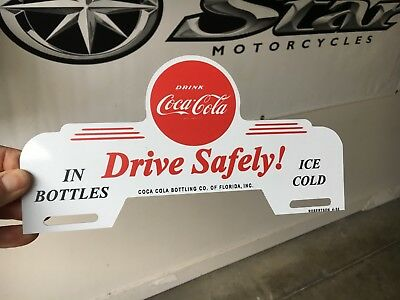 "Coca-Cola license plate topper - Florida / ""Drive safely"". 10"" x 5 1/2"",  metal"