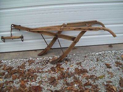Primitive Antique Double Blade Horse Drawn Plow ~ Rustic Mule Plow Yard Display