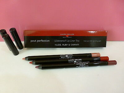 NIB Laura Geller Pout Perfection Waterproof Lip Liner Trio - Nude, Ruby, Chianti