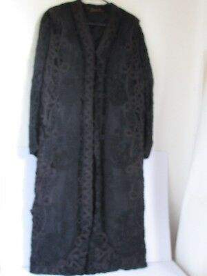 Antique Victorian Black Heavy Ornate Lace Coat  R. King & Sons Bath England