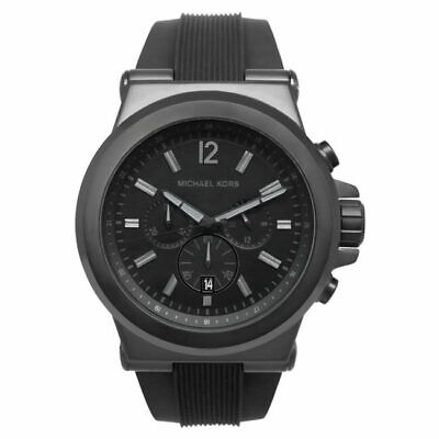 f8a38be37fa6 BRAND NEW Michael Kors Dylan Black Silicone Chronograph Mens Watch MK8152