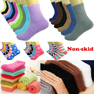 Lot 3-10 Pairs Men Soft Cozy Fuzzy Warm Striped Slipper Crew Socks Size 9-13