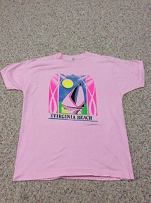 vtg 80s Screen Stars Shirt Sailboat SUNSET VIRGINIA BEACH OCEAN PINK 50/50 Soft