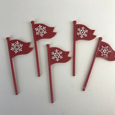 Mr. Christmas Santa's Ski Slope Replacement Parts 5 Red Flags