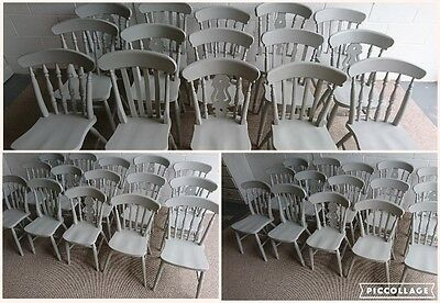 New Beech Farmhouse Dining Chairs Sprayed painted in paris grey RAPID DISPATCH