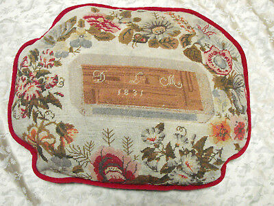"Vintage Pillow Wool Needlepoint Sampler 1831 Red Velvet 14x18"" Floral Antique"