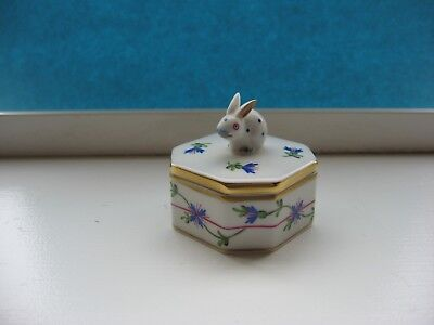 Herend Poland Bunny Octagon Trinket Box Blue Floral Excellent Condition