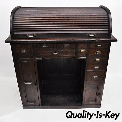 Antique Oak Watchmakers Jewelers Work Bench with Roll Top Desk