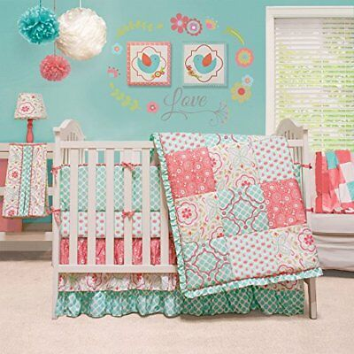 The Peanut Shell Mila 4-Piece Baby Girl Floral Teal Coral Crib Bedding Set NEW!