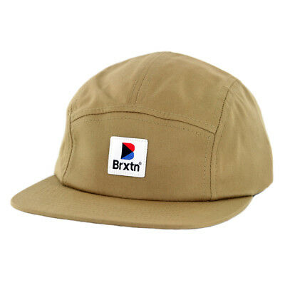 "Brixton ""Stowell"" 5-Panel Strapback Hat (Dark Khaki) Men's Adjustable Cotton Cap"