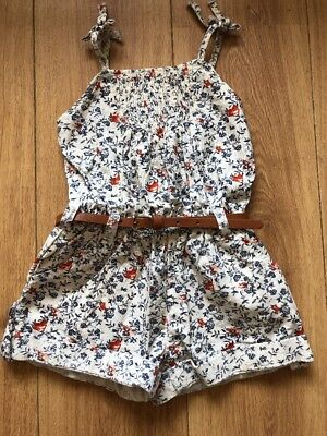 Next Cream Floral Playsuit With Belt Age 3